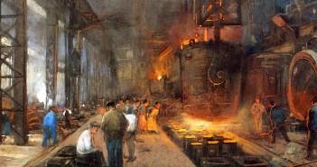 Das Gießen von Eisen in Blöcken, Herman Heyenbrock, 1890. (cc) Wikimedia Commons